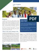 Giz 2013 Factsheet Solar Water Pumping for Irrigation in Bihar