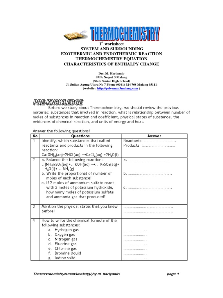 Worksheet Thermochemistry Calorimetry – Endothermic and Exothermic Worksheet