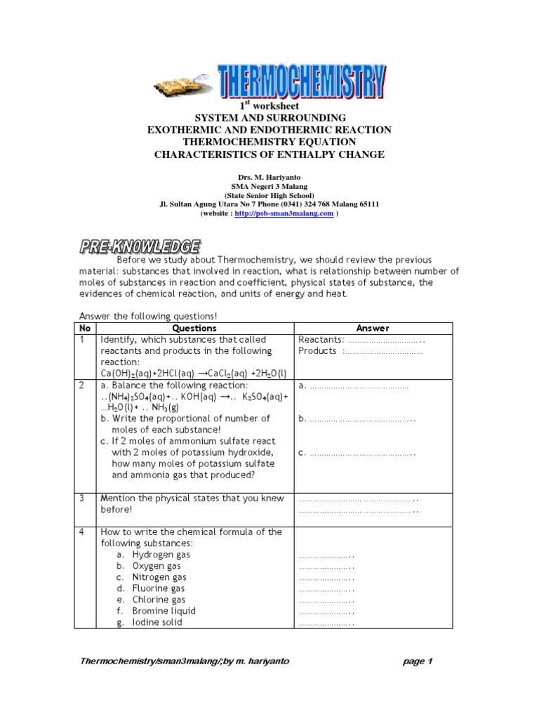Worksheet Thermochemistry Enthalpy Calorimetry