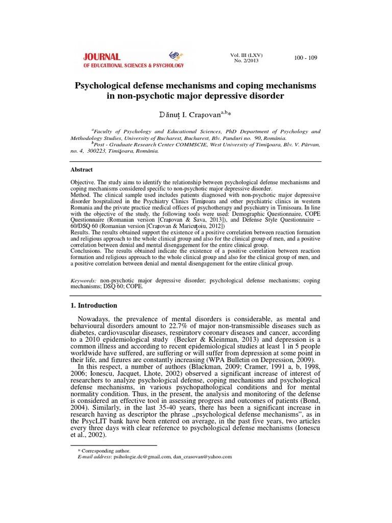 Jesp Psychological Defense Mechanisms And Coping Mechanisms Coping Psychology Standard Deviation