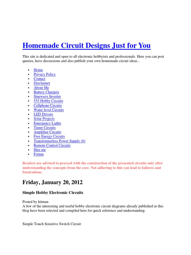 Homemade Circuit Designs Just For You Amplifier Electronic Circuits Power Led Driver Design