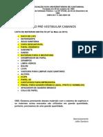 Lista de Materias Em Falta (10 de Abril de 2013)
