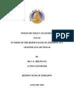 RBZ Monetary Policy Statement Full Document