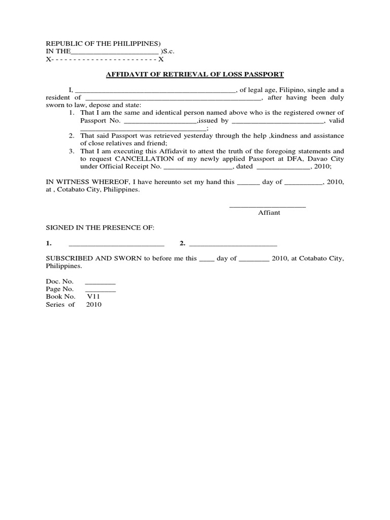 Affidavit of Retrieval of Loss Passport – Affidavit of Truth Template