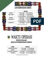 jadual waktu operasi