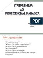 Entrepeneur vs Manager