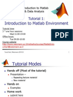 Introduction to Matlab Tutorial 1