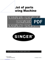 2802 List of Parts Sewing Machine
