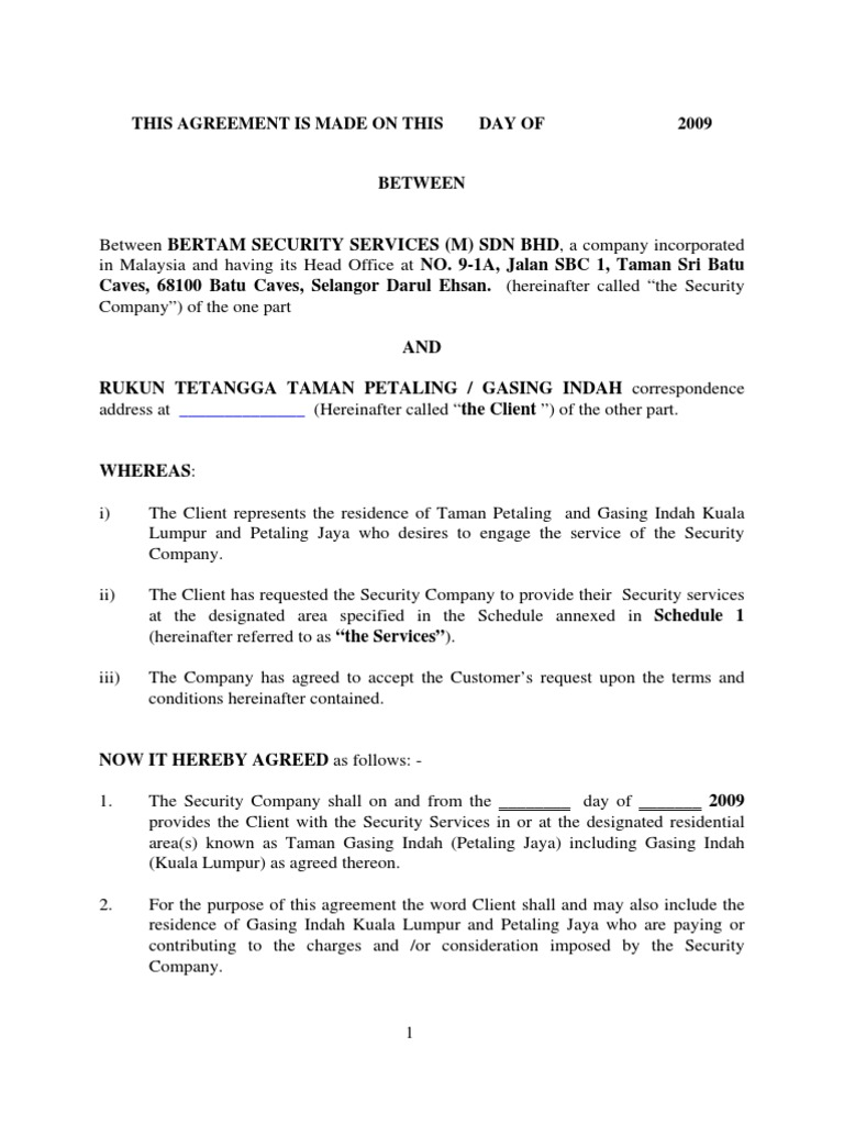 Security Guard Contract Template nuclear security guard sample