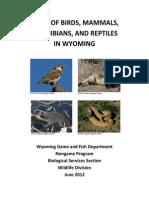 Atlas of Birds, Mammamls, Amphibians and Reptiles in Wyoming