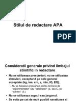 Stilul de Redactare APA