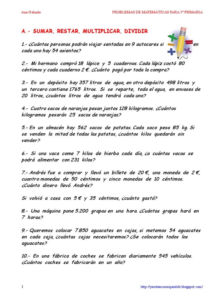 Problemas matemticas 5 primaria ana galindo fandeluxe Gallery