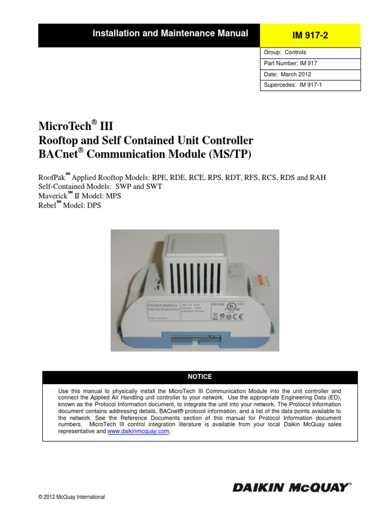 MicroTech III - Rooftop and Self Contained Unit Controller - BACnet on