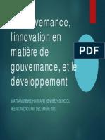 La gouvernance, l'innovation en matière de gouvernance, et le développement Matt Andrews