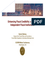 Enhancing Fiscal Credibility a Role for Independent Fiscal Institutions Xavier Debrun