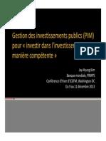 Gestion Des Investissements Publics PIM Lessons JKIM