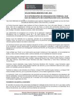 PNP CAPTURÓ A LÍDER E INTEGRANTES DE ORGANIZACIÓN CRIMINAL QUE OPERABA BAJO FACHADA DE SINDICATO DE CONSTRUCCIÓN CIVIL EN PIURA.doc
