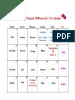 Feb. 2014 Snack and C.B. Calendar