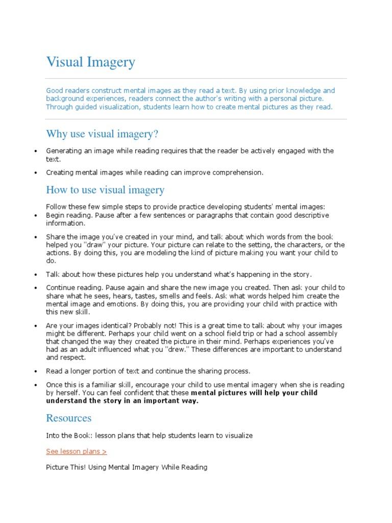Visual Leteracy Print | Mental Image | Reading (Process)