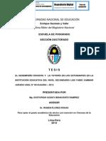 EL DESEMPEÑO DOCENTE Y  LA TUTORÍA EN LOS ESTUDIANTES EN LA INSTITUCIÓN EDUCATIVA DEL NIVEL SECUNDARIO LUIS FABIO XAMMAR JURADO UGEL N° 09 HUAURA – 2012