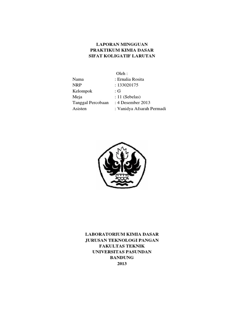 Contoh Laporan Praktikum Sifat Koligatif Larutan Kumpulan Contoh Laporan