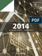 Montreal 2014 Municipal Budget