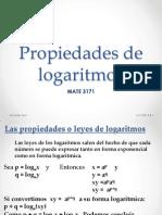 Propiedades Logaritmicas