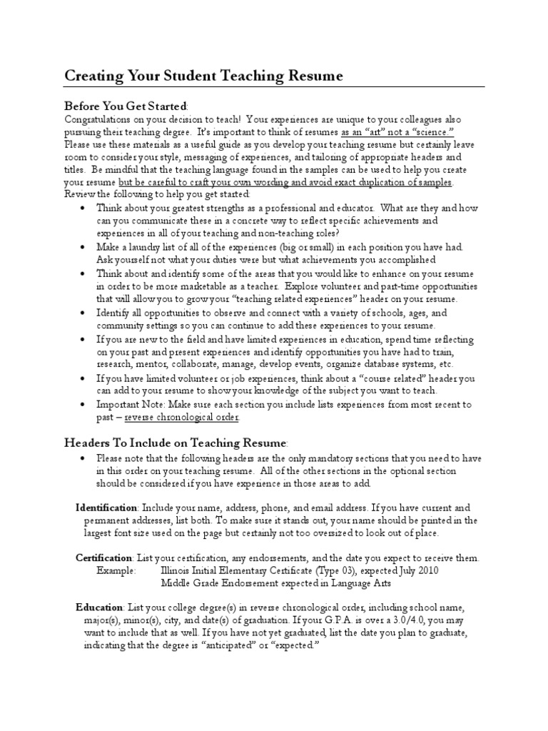 what font size should your be on a resume cipanewsletter creating your student teaching resume from depaul university