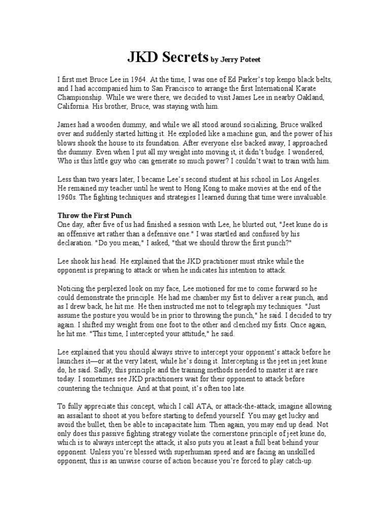 JKD Secrets By Jerry Poteet Bruce Lee