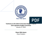 Mayor Mike Spano's Testimony on the 2014-15 Executive Budget Proposal