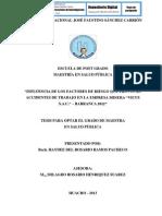 """INFLUENCIA DE LOS FACTORES DE RIESGO QUE PROVOCAN ACCIDENTES DE TRABAJO EN LA EMPRESA MINERA """"VICUS S.A.C."""" – BARRANCA 2012"""
