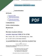 Revista musical chilena - La posibilidad de una retórica musical hoy
