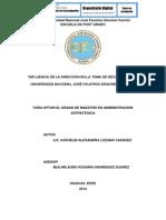 INFLUENCIA DE LA DIRECCIÓN EN LA TOMA DE DECISIONES EN LA UNIVERSIDAD NACIONAL JOSÉ FAUSTINO SÁNCHEZ CARRIÓN