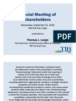 TIBB Special Meeting of Shareholders