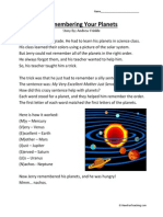Remembering Your Planets Second Grade Reading Comprehension Worksheet
