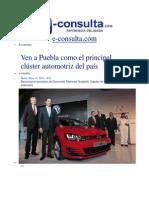 14-01-2014 e-consulta.com - Ven a Puebla como el principal clúster automotriz del país