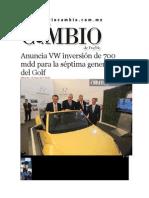 15-01-2014 Diario Matutino Cambio de Puebla - Anuncia VW inversión de 700 mdd para la séptima generación del Golf.