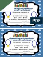 winter olympics certificates