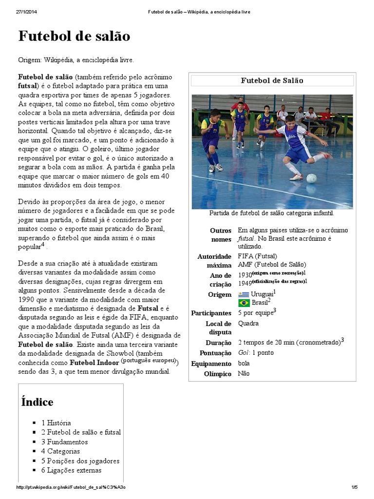 Futebol de salão – Wikipédia 85b3a369980b8