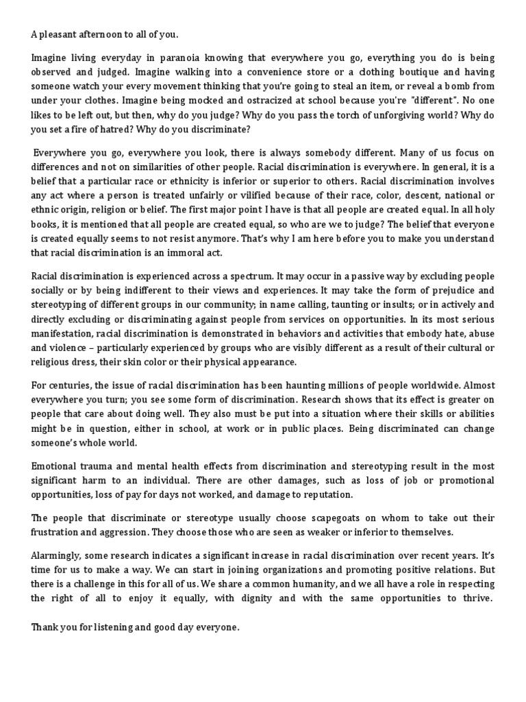 persuasive speech on racism  discrimination