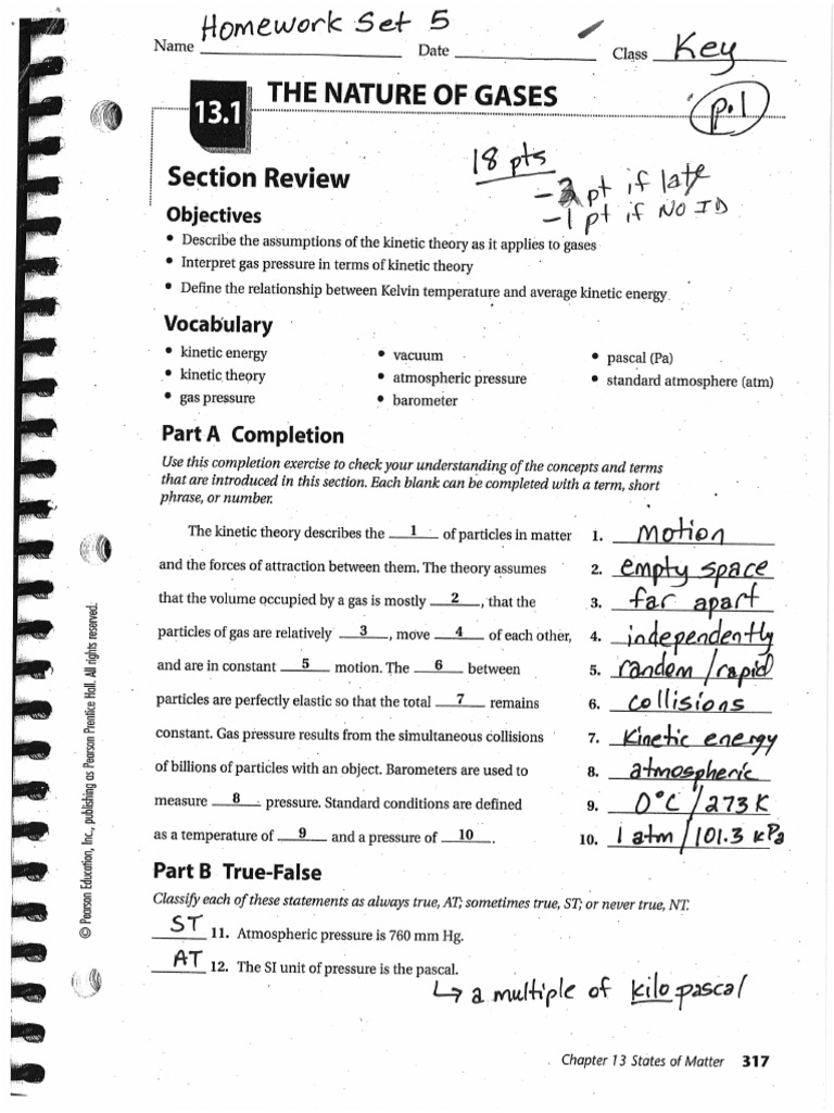 worksheet The Nature Of Matter Worksheet Answers chapter 13 answer key