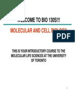 Notes for BIO130, University of Toronto