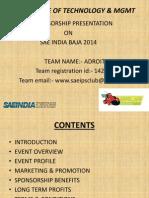 Sae Baja Team Sponsorship