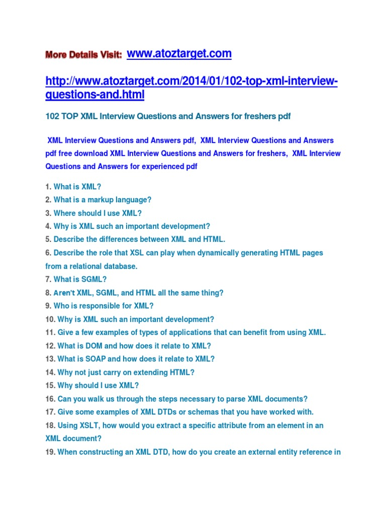 Xml interview questions and answers xml html baditri Images