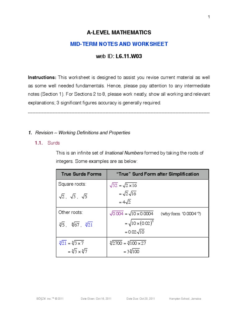 L6 Worksheet 11w03 Logarithm Exponentiation