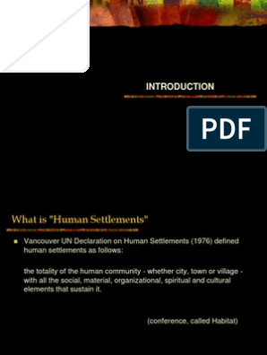 Introduction to human settlement planning | Community