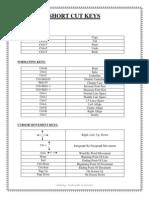 Short Cut Keys for MS Office