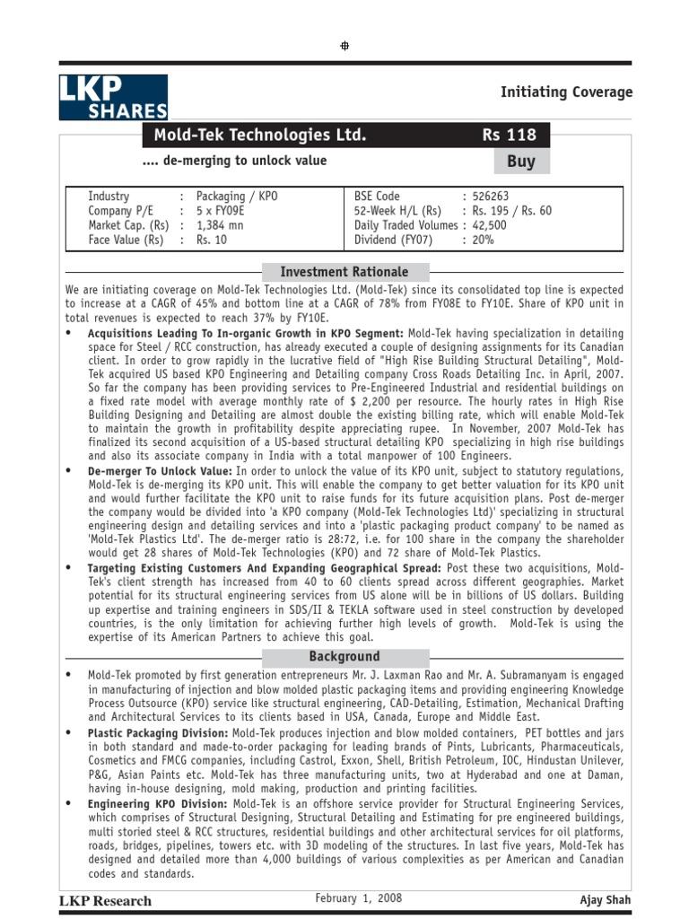 Mold-Tek Technologies Ltd  Rs 118:      de-merging to unlock