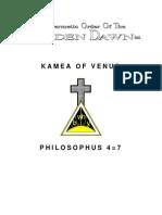 GOLDEN DAWN 4=7 Kamea of Venus