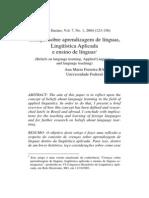 Barcelos-Crenças sobre aprendizagem de língua, linguistica aplicada e ensino de língua
